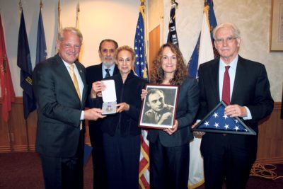 Congressman Steve Israel with the daughters of Private First Class Harry Schwartz (deceased) and their husbands (from left): Ellen and Howard Brous, and Sherry and Ted Thirlby