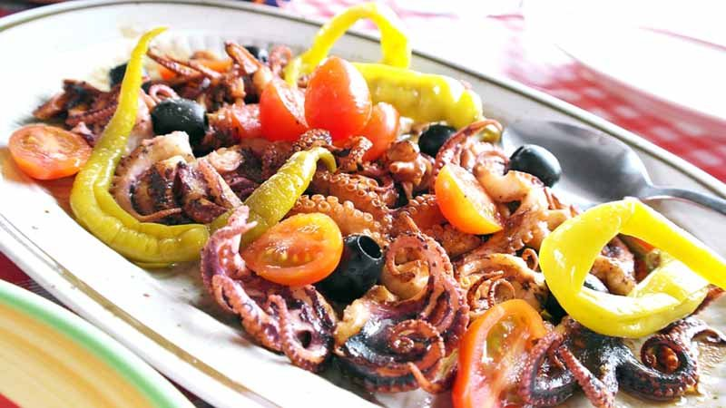 Baby octopus is a popular feast item.