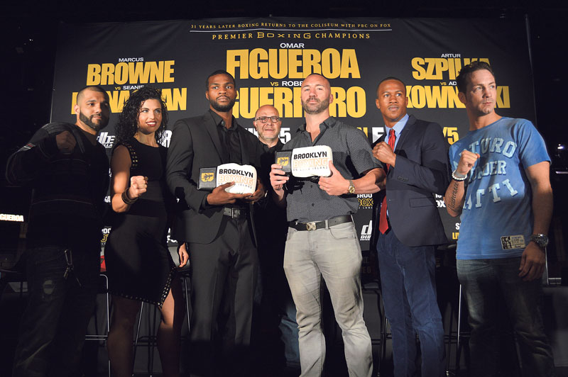From left: Vincenzo D'Angelo, Alicia Napoleon, Marcus Browne, Lou DiBella, Seanie Monaghan, Patrick Day and Tommy Rainone. (Photo by Nicole Lockwood)