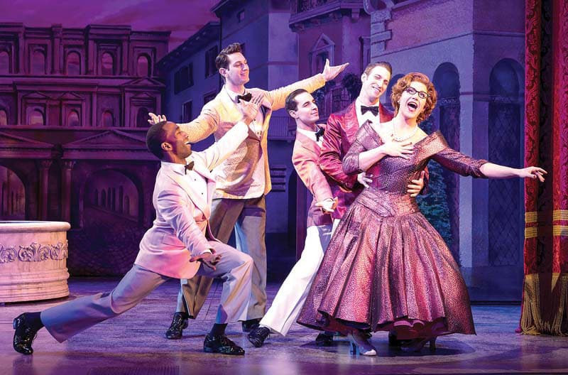 Santino Fontana and the company of Tootsie give it their all in the musical within the musical, Juliet's Nurse. (Photo by Matthew Murphy)