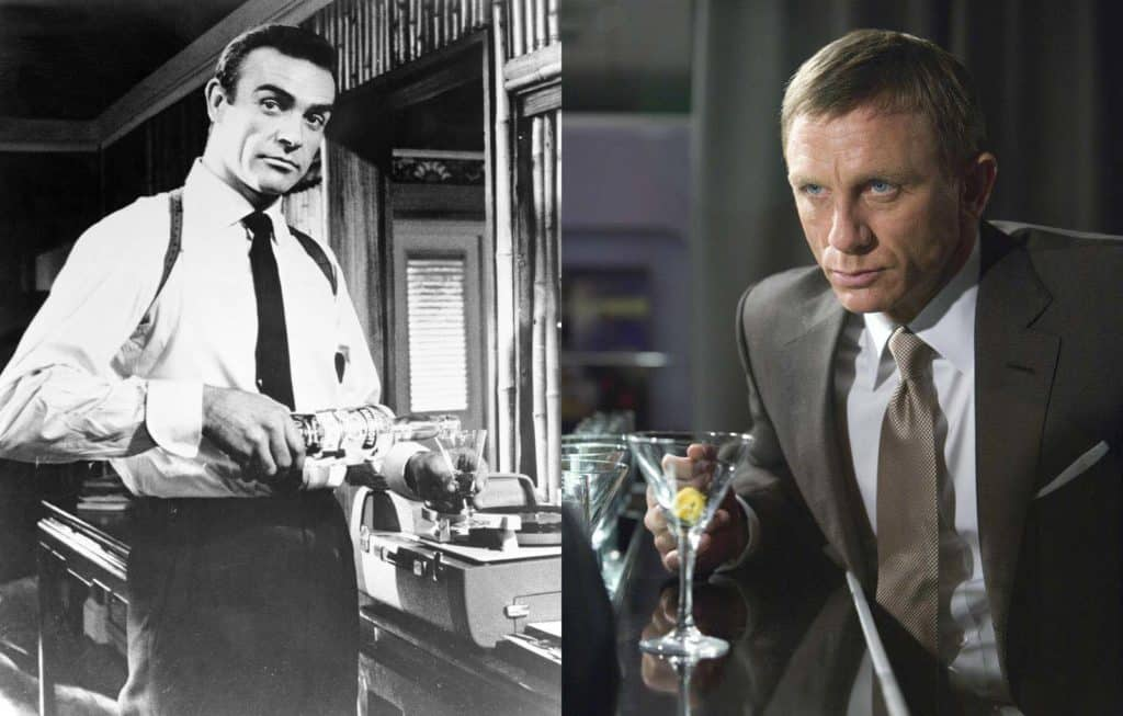 Sean Connery and Daniel Craig both enjoy a martini in Dr. No and Quantum of Solace respectively. (Photos by Eon/MGM. Source: Movie Stills DB)